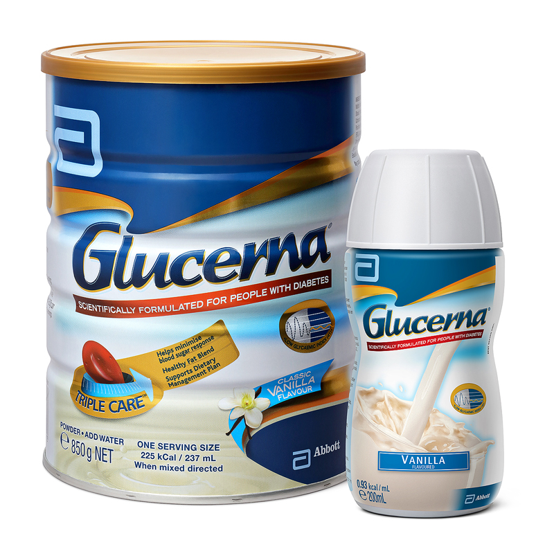 Glucerna 850g tin with 200mL RTD Vanilla web res